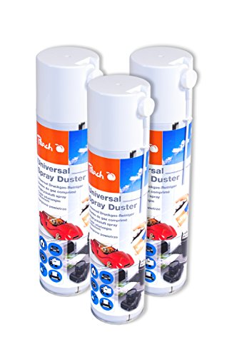 Peach Universal Druckluftreiniger PA100, 400 ml, 3 Stück | Sprühkopfverlängerung | ideal für die Reinigung im Haushalt und Büro | auch für empfindliche Geräte | H-FCKW / FCKW - frei | Made in Germany
