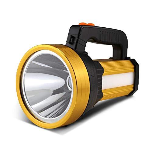HUANGLP LED-Außenleuchte Super helle Wasserdichte Taschenlampe Notlicht Dritter Gang, der 7000 Lumen Scheinwerfer verdunkelt Aufladbare Blendung Totale Tragbare Leuchte,Gold