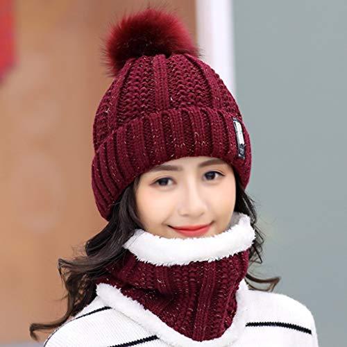 SHYPT Cálido Invierno Gorro de Punto Sombrero Damas Invierno Damas Sombrero Sombrero Bufanda, diseño Moderno (Color : C)