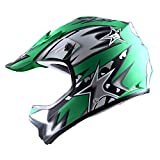 WOW Youth Kids Motocross BMX MX ATV Dirt Bike Helmet Star Matt Green