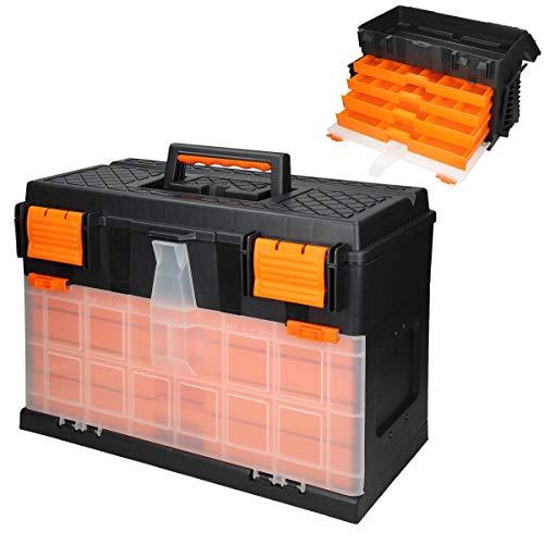 ECD Germany Werkzeugkasten Werkzeugkoffer ca. 44,5 x 26 x 32 cm - 4 Schubladen mit Kleinteilemagazinen - leer - aus Kunststoff - für Heim- und Handwerker - Werkzeugkiste Werkzeugbox Sortimentskoffer