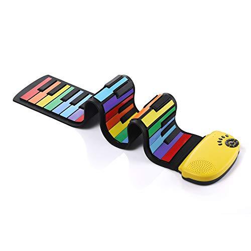 DigitalLife 49 Tasten Hand Roll Up Piano mit Lautsprecher - Faltbare Elektronische Musik E Tastatur mit 100 Töne umschaltbar und 10 Demo-Songs