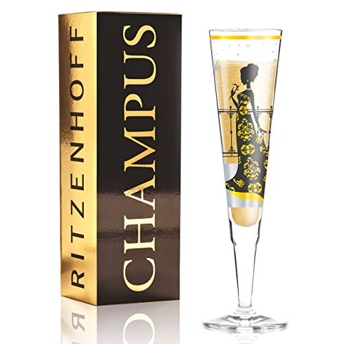 Ritzenhoff Champus Champagnerglas, Glas, Schwarz, Gold, 0.1 cm
