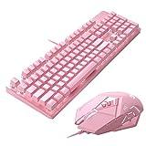 YZYZYZ Sensible Teclado Mecánico Rosa, Verde 104 Tecla del Teclado del Eje, Lovely Girls Oficina De Videojuegos Dedicado Rosa Mouse Set (Size : Keyboard)