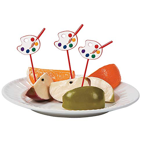 Price comparison product image Fun Express - Artist Party Plastic Picks (25pc) for Birthday - Party Supplies - Serveware & Barware - Picks & Stirrers & Parasols - Birthday - 25 Pieces