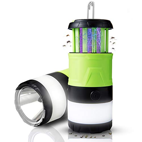 ERAVSOW LED Camping Lantern & Bug Zapper & Flashlight 3-in-1, Rechargeable Mosquito Zapper, Portable Compact Camping Gear with Magnetic Base for Outdoors