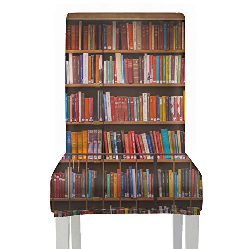 Fundas de asiento para sillas de cocina Libros en biblioteca Librero Funda para banco de comedor Poliéster elástico Sillas lavables extraíbles Fundas para comedor Para el hogar Cocina Fiesta Restaura