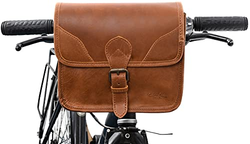 Gusti Lenkertasche Leder - Barry H mit und mit E-Bike KLICKfix- Adapter Fahrradtasche Lenker Umhängetasche Fahrrad Fahrradtasche Rahmen Braun Leder