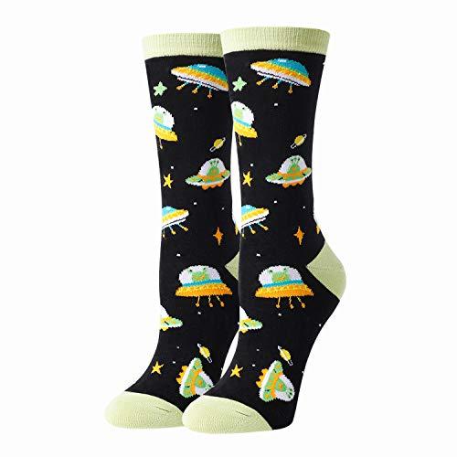 HAPPYPOP Lustige Socken mit Alien-Motiv, tolles Geschenk für Frauen & Mädchen - - Medium