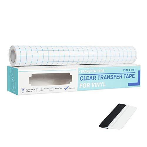 Hywean Transferfolie Für Vinyl, 30cm*5meter Transferfolie Plotter, Übertragungsfolie Plotter mit Medium Initial Tack für Schilder, Abziehbilder, Fenster, Aufkleber