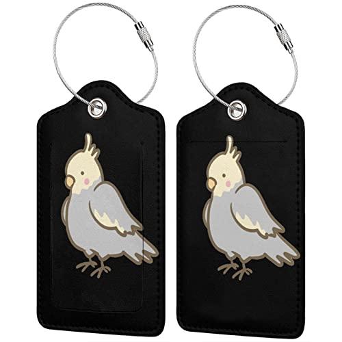 BCLYPBO Cockatiel Parrot - Etichette per bagagli in pelle PU, con anello in acciaio inox, 2 pezzi