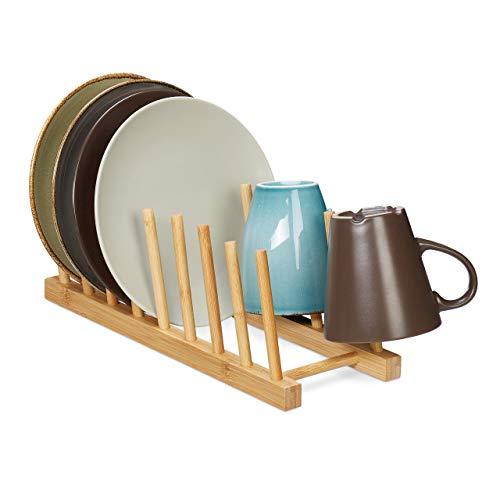 Relaxdays Tellerständer, für 8 Teller, Schneidebretter, Topfdeckel, Abtropfgestell Geschirr, Bretthalter Bambus, natur