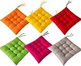 RGRE Chair Cushions for Dining Chairs, 16'X16' Seat Cushion, Chair Pads with Ties Set of 6, for Dining Chair Garden Kitchen Office School