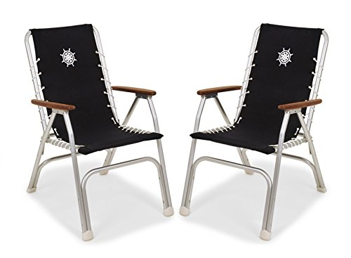 Forma Marine - Satz von 2 Stühlen - Hochlehner Liegestuhl Bootsstuhl klappbar Eloxiert Aluminium Schwarz, Modell M150BL-2