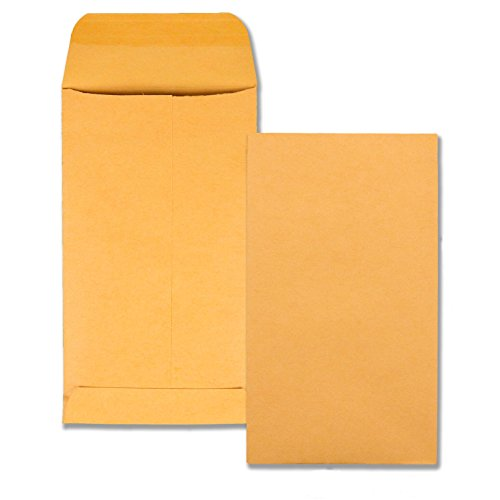 Quality Park Coin/Small Parts Envelopes, 5.5, Brown Kraft, 3.125 x 5.5-Inches, Box of 500 (50562)