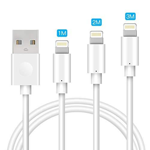 Avoalre Cavo iPhone 3Pezzi 1M 2M 3M, [Certificato MFi], Carica Rapida Cavo Lightning a USB Compatibile con iPhone SE 2020 11 11 Pro X XS XR 8 8 Plus 7 7 Plus 6s 6 6 Plus 5c 5s 5, iPad - Bianco