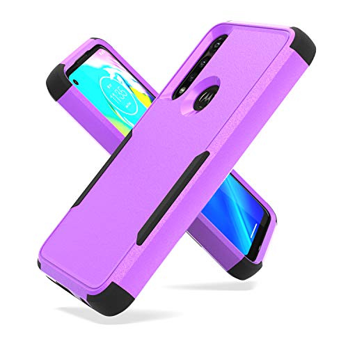 Fcclss 2 in 1 Cell Phone Case for Motorola Moto G Power 2020, Dual Layer Heavy Duty Protective Hybrid Case, Shockproof Drop-Proof Cover with Strong Protection, Purple