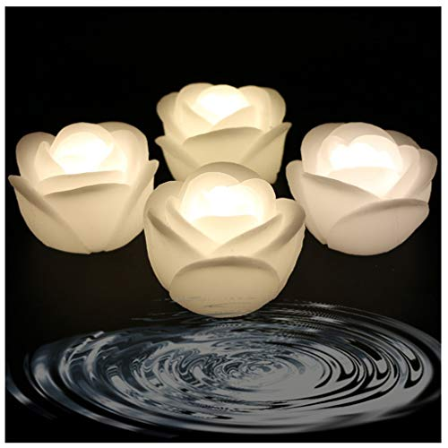ARDUX LED Floating Candles, Rose-shape Wax Waterproof Floating Candles Tealight Night Light Flameless Candle with Battery-powered for Wedding Party Decoration (Pack of 4, Warm White)