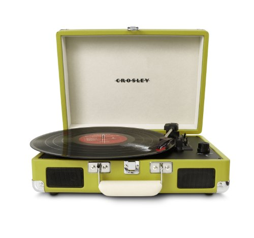 """Crosley Cruiser Turntable Tragbarer Schallplattenspieler mit eingebauten Stereo-Lautsprechern im \""""Aktenkoffer\""""-Design mit EU Netzstecker - Grün"""