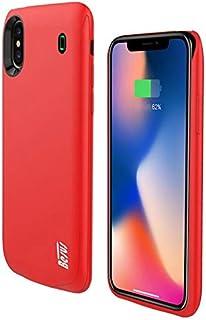 غطاء جوال ايفون اكس مع بطارية مدمجة بسعة 4,000 ملي امبير، احمر