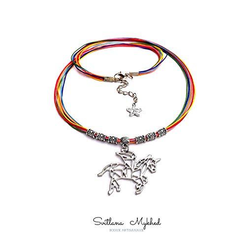 Collar para personalizar UNICORNIO. ARCO IRIS. UNICORNIO. CABALLO. RAINBOW. MÁGICO. MISTERIO cordón de satén (color y longitud de elección); Perlas tibetanas
