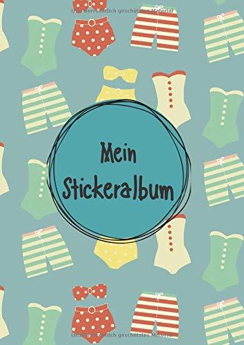 Mein Stickeralbum: Stickeralbum leer zum sammeln von Stickern | Motiv: Badeanzug Sommer Design DIN A4 Format mit 40 Seiten für Mädchen und Jungen | Kein Silikonpapier zum wieder abziehen !