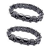 EQLEF Fitness Armband Magnet Hämatit-Metallmagnetfeldtherapie Armbänder 2pcs zum Körperliche...