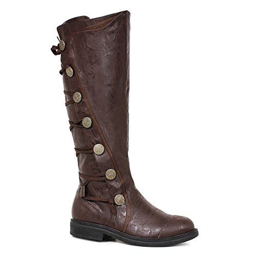 """Ellie Shoes Mens Fresco Brown Knee High 1"""" Period Boots,Brown Pu,Large"""
