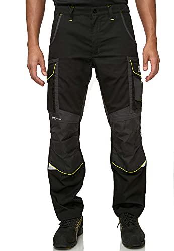 PUMA WORK WEAR Premium Arbeitshose mit vielen Taschen und extra verstärktem Nylon Gewebe - Schwarz-Neon - Gr. 50