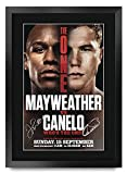 HWC Trading Mayweather Canelo Fight Floyd Mayweather Jr. vs. Canelo Álvarez Gifts - Imagen de autógrafo firmada para Aficionados al Boxeo - A3 Enmarcado