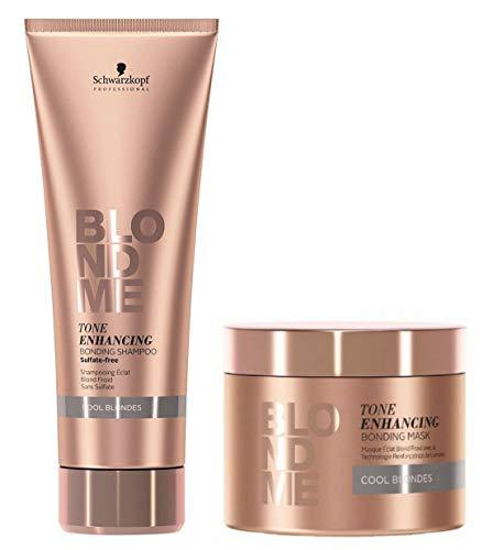 Schwarzkopf BlondMe COOL BLONDES Toning Enhancing Bonding Shampoo 250ml & Mask 200ml