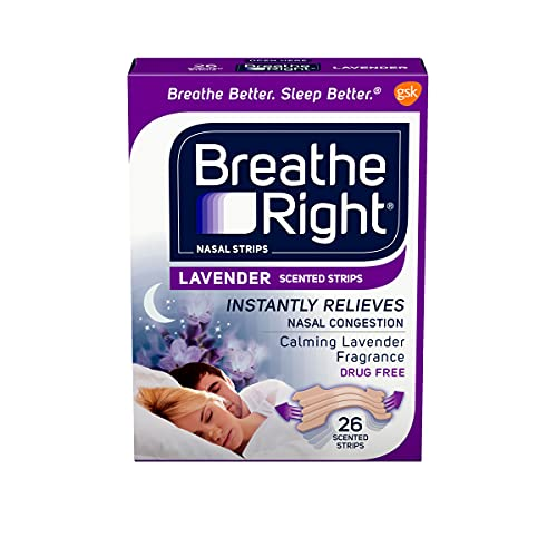 Breathe Right Nasal Strips, Lavender, Nasal Congestion Relief due to Colds & Allergies, Reduces Nasal Snoring caused by Nasal Congestion, Drug-Free, 26 Count