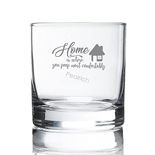 Vaso de whisky de 8 onzas, Home is Where You Poop Most Comfortably Grabado Scot Copas de whisky antiguas de moda para bourbon/ron/vaso vasos de whisky, transparente