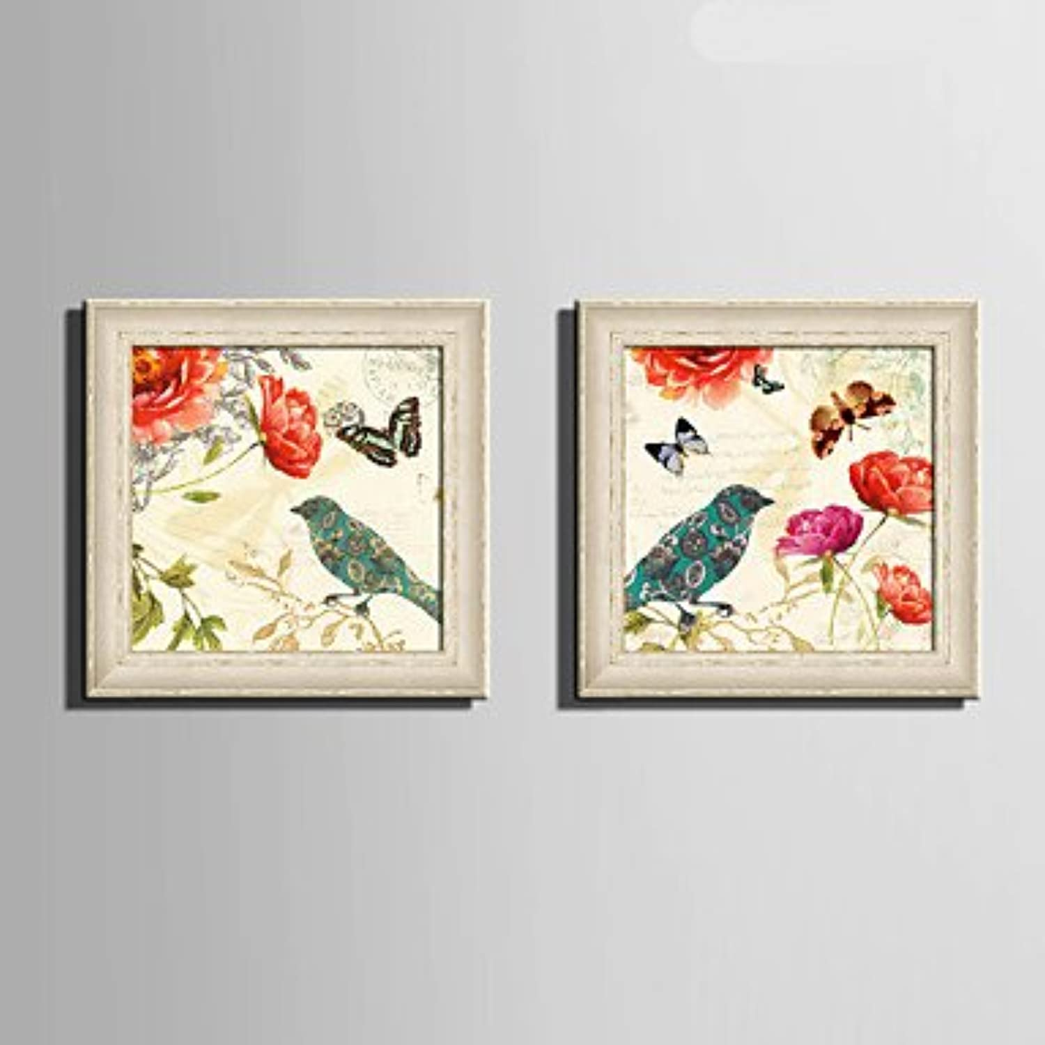 Xuanku EHOME Framed Canvas Art, Butterfly Flowers And Birds Framed Canvas Print Set Of 2
