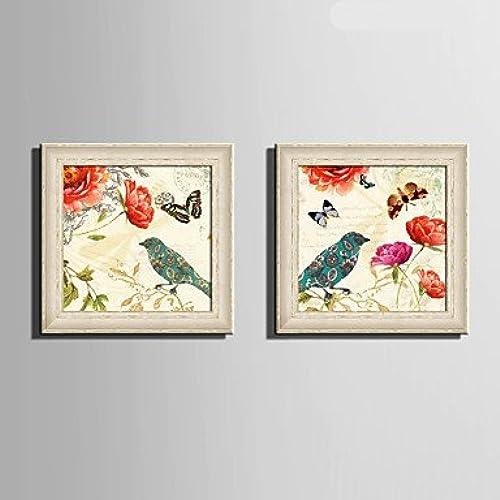 Xuanku E-Home Toile Encadrée Art, Fleurs Et Oiseaux Papillon Toile Encadrée Imprimer Jeu De 2