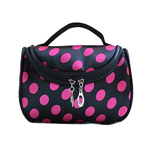 Bolsa de cosméticos o bolsa de aseo, negra, con cremallera, con lunares rosa
