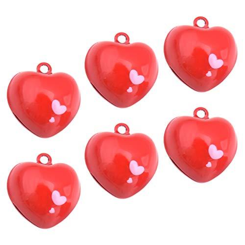 Kisangel 6 Piezas de Collar de Gato Rojo Campana en Forma de Corazón Joyería Encantos de Collar de Mascota Colgante de Entrenamiento Colgante de Corazón Rojo Llavero para Mascotas Gato