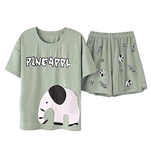 URIBAKY - Conjunto de pijama para mujer con estampado de elefante para bebé verde XL