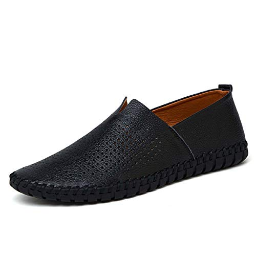 Fashion Men s Loafers 2019 Genuine Leather Handmade Soft Breathable Men Moccasins Flats Plus Size 38~50 Slip On Driving Shoes Black Mesh 16