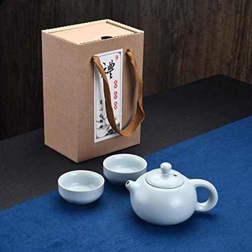 Juego De Té Portátil De Viaje Juego De Té Shih Tea Pot Sin Problemas Business Personal S (Color: Azure One Pot and Two Cups)
