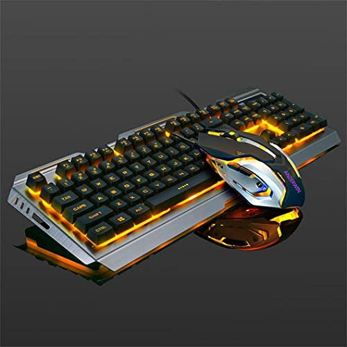 Gaming Keyboard Orange Backlit and Rainbow Mouse Combo,Color Change LED Backlight Computer Gaming Keyboad,Lighted PC Gaming Mouse,USB Keyboard Raised Key,Silver Metal,for Xbox One PS4 Gamer Working