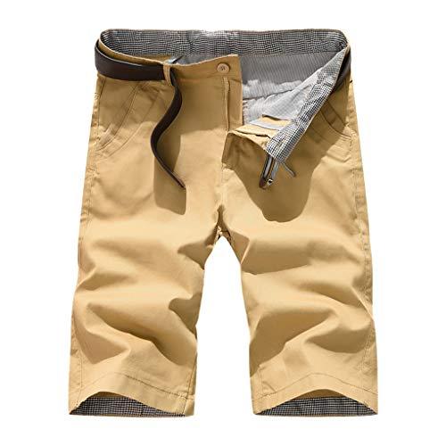 Große Größe Gerade Shorts für Herren/Skxinn Männer Sommer Kurze Hose Übung Overalls Freizeithosen Casual Sport Slim Fit Hosen Regular Fit S-7XL Ausverkauf(Khaki,4XL)