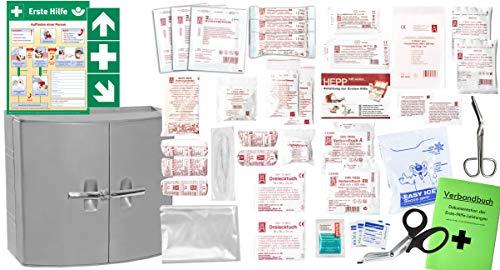 Erste Hilfe Schrank - Medizinschrank - Verbandschrank (385 x 180 x 325) -Komplettpaket- mit der Füllung DIN/EN 13157 für Betriebe + viele Extras INKL. Verbandbuch + Aushang + Folienaufkleber