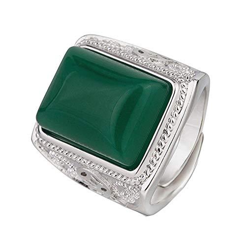 Anillos De Jade Verde Esmeralda Tallados Grandes De Época Para Hombres Joyería De Color Plata Blanca Bague Anillo De Arabia Masculino Accesorios De Pavo