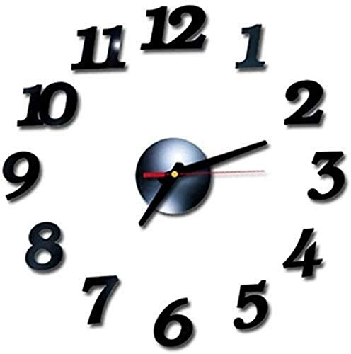 KS Reloj de Pared 3D Espejo números Romanos Reloj de Pared Pegatina 3D Pared ArtClock número Reloj Relojes de Pared para Sala de Estar decoración de Oficina en casa