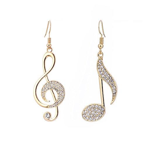 Pendientes colgantes para mujer, nota musical, pendientes de gota para niña con cristales de circonita cúbica Dorado