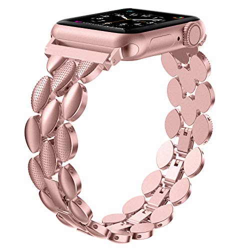 Wearlizer für Apple Watch Armband 38mm 40mm, Metall iWatch Straps für Apple Watch 5 Armband Ersatzband Uhrenarmband Wristband für iWatch Serie 5 Serie 4 Serie 3 2 1 - Rosa