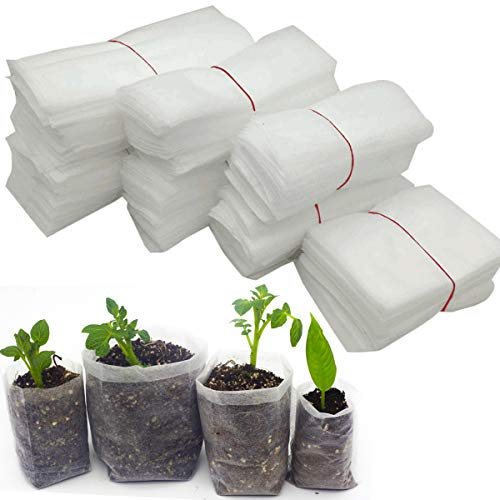 Seedling Grow Bags, Biodegradable Non-Woven Seed Starter Nursery Bags, Plant Grow Bags Vegetables Fabric Seedling Pots Air Pruning Root Pouches Planting Bags, Transplant Grow Pouch Home Garden Supply