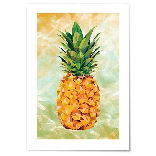 JUNIWORDS Poster mit/ohne Holzrahmen - Wähle ein Motiv - Ananas im Low Poly Style - Wähle eine Größe - 21 x 30 cm (S) ohne Rahmen