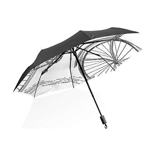 Paraguas invertido Lluvia Bicicleta Antigua Vintage Paraguas Plegable Compacto portátil Protección Anti...